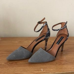 Grey suede and leather python size 9 1/2 heels